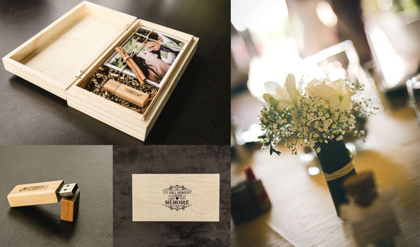 Boîte remise aux mariés comme cadeau avec une dizaine de photos développés pour la prestation