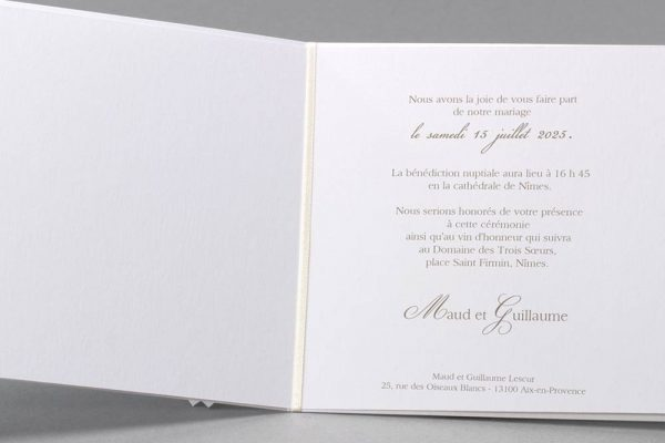 Faire-part de mariage produits de luxe me contacter pour personnaliser quantité Bordeaux Gironde nouvelle Aquitaine