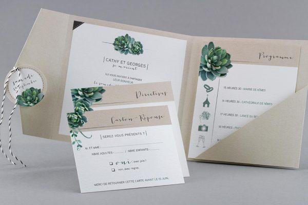 Faire-part de mariage sur le thème des plantes écolo sur papier recyclé