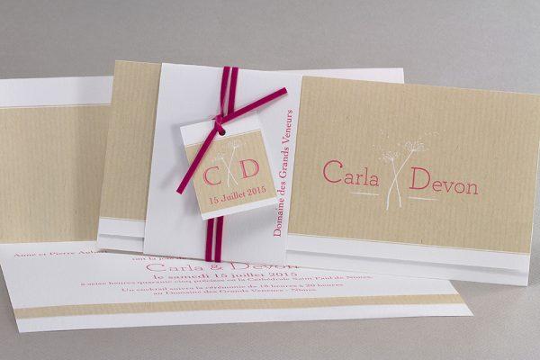 Faire-part de mariage sur papier Craft différentes couleurs contactez-moi pour plus de propositions