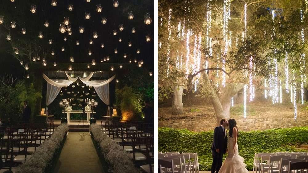 Idée déco pour votre mariage prise des thèmes de Noël des guirlandes lumineuses décore votre salle ou votre cérémonie