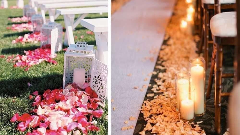 Des bougies et des pétales de rose dans l'allée de la cérémonie de votre mariage une idée