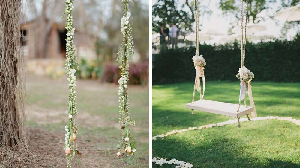 Idées de décoration une balançoire romantique pour amuser les convives t'aime champêtre