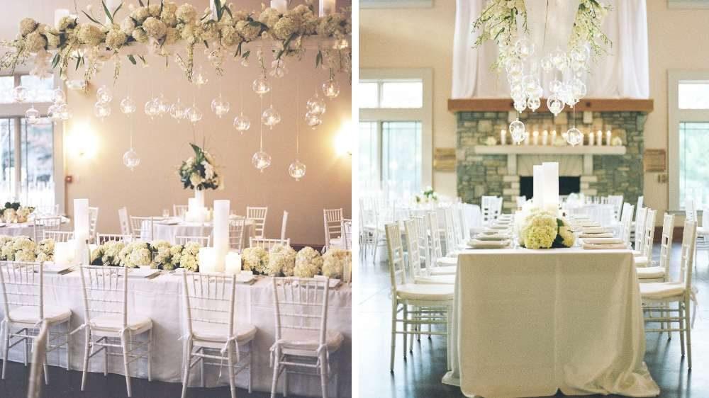 Idées de décoration pour votre mariage bougies suspendu au-dessus de la table