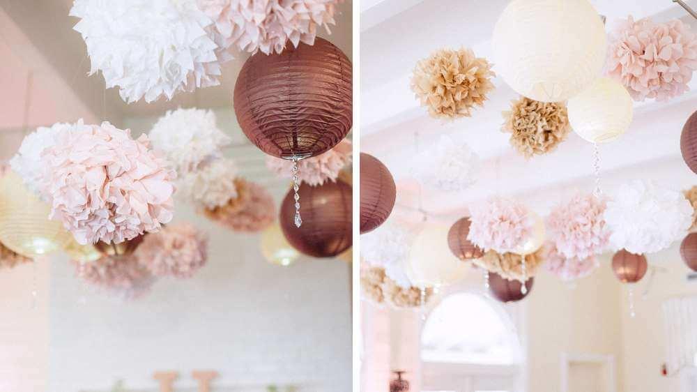 Idée de mariage des pompon fleuri au plafond de la salle pour les thèmes champêtre