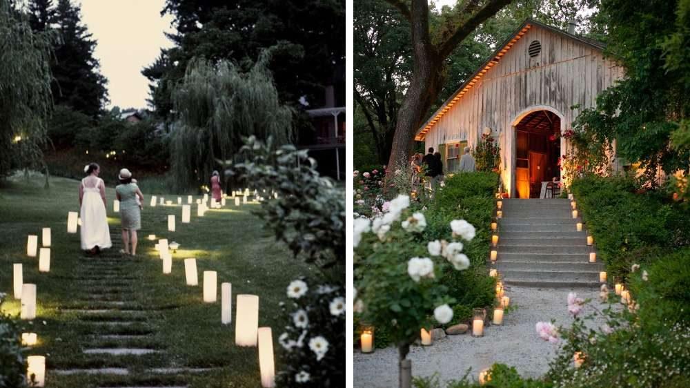 Idée mariage des lumières et des bougies en chemin entre la cérémonie laïque et la salle de repas