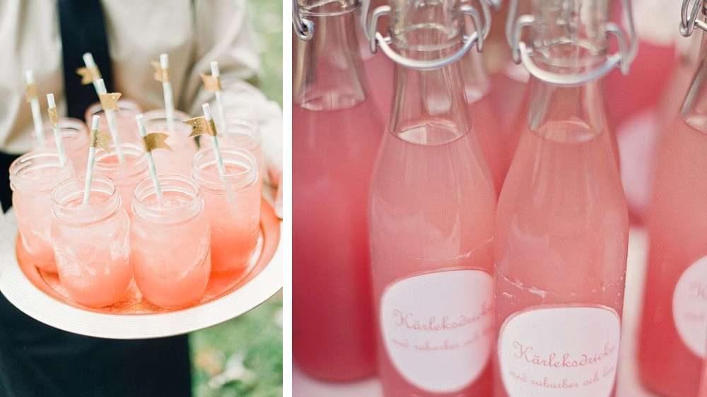 Idée de mariage des boissons aux couleurs roses et acidulé pour le 20 donneurs