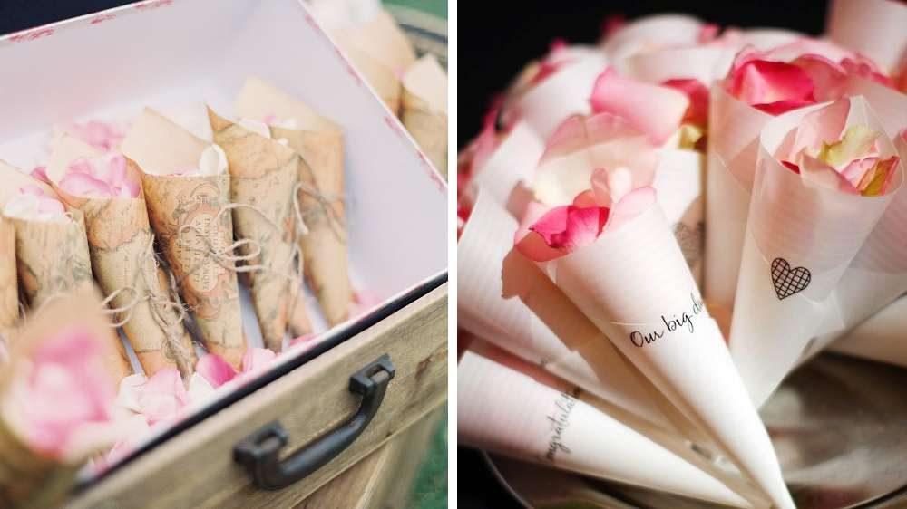 Idée de mariage des pétales de rose ajouter et offrir aux convives et ajouter à la sortie de l'église