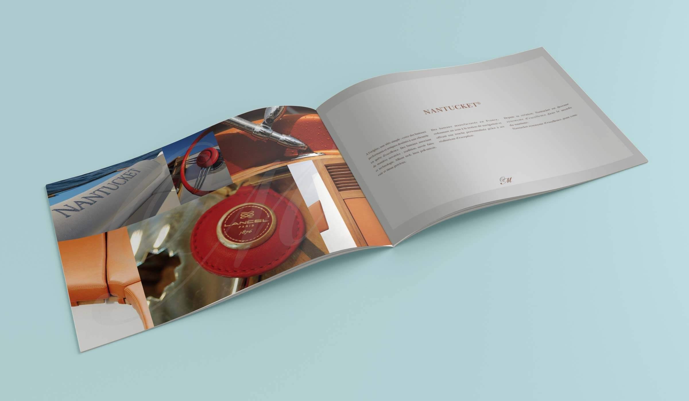 graphiste plaquette ostrea marine Brochure de luxe pour le bateau dans Touquettes création sur le bassin d'Arcachon