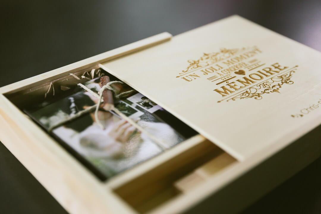 Coffret émotion en bois pour vos photos de mariage :